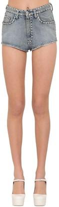 Miu Miu Crystal Embellished Cotton Denim Shorts
