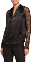 Jonathan Simkhai Silk Lace Long-Sleeve Wrap Top