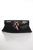 Lauren Merkin Black Perforated Leather Pink Woven Bow Pleated Clutch Handbag