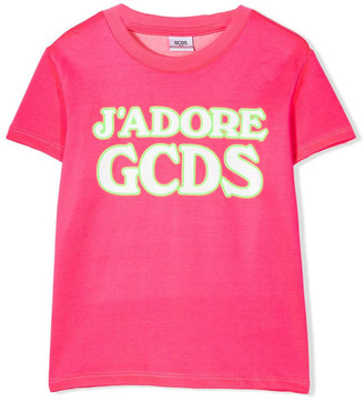 GCDS Fluorescent Pink Cotton T-shirt