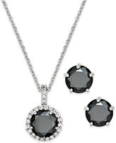 Charter Club Silver-Tone Jet Stone Pendant Necklace and Stud Earrings Boxed Set, Only at Macy's