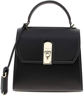 Salvatore Ferragamo Handbag Medium Boxyz Bag In Smooth Leather With Metal Padlock