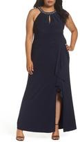 Vince Camuto Beaded Neck Faux Wrap Gown (Plus Size)