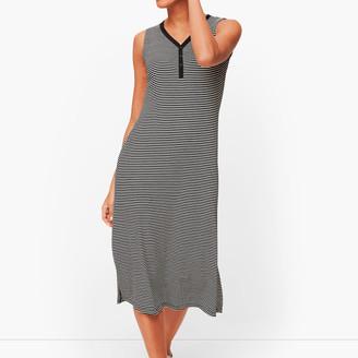 Talbots Stripe Sleeveless Henley Dress