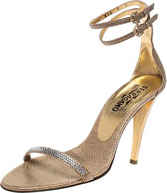 Salvatore Ferragamo Gold Snakeskin Tirosana Ankle Strap Sandals Size 39.5