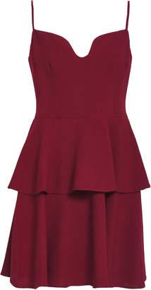 Black Halo Tiered Crepe Mini Dress