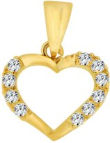 GiveMeGold 14k Yellow Gold, Small Size Open Heart Pendant Charm Created CZ Crystals