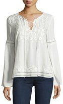 Parker Emiliana Embroidered Lace-Up Blouse, Ivory