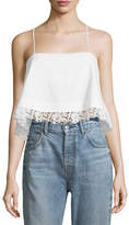 A.L.C. Bassett Cropped Lace-Hem Cotton Cami Top