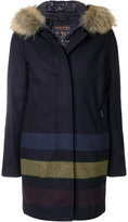 Woolrich striped layered coat