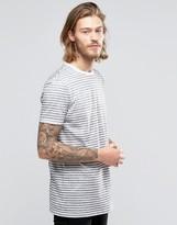 Asos Longline Stripe T-Shirt In Gray/White
