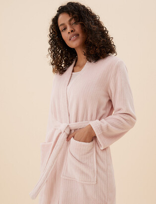 Marks and Spencer Fleece Ribbed Long Dressing Gown