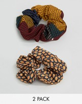 Asos Pack of 2 Printed Scrunchie Hair Ties