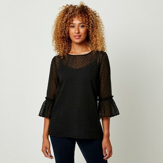 Joe Browns Dotted Boat-Neck Blouse with 3/4 Length Sleeves