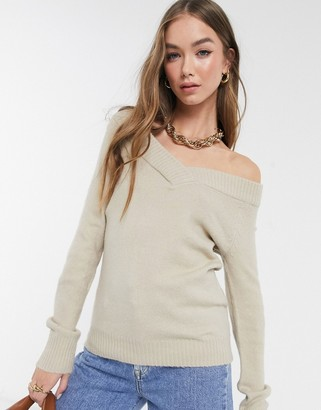 Vila off the shoulder jumper in beige