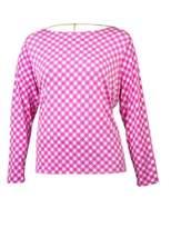 Michael Kors Women's Houndstooth Cowl Back Long Sleeve Blouse (1X, Ultra Pink)
