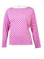 Michael Kors Women's Houndstooth Cowl Back Long Sleeve Blouse (2X, Ultra Pink)