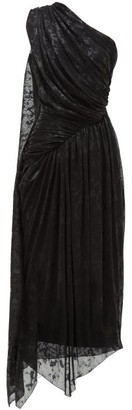 Halpern One-shoulder Devore-lame Dress - Black