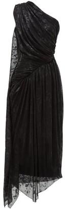 Halpern One Shoulder Devore Lame Dress - Womens - Black