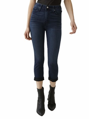 True Religion Women's Halle Capri Mid Rise Skinny Fit Jean with Rolled Hem
