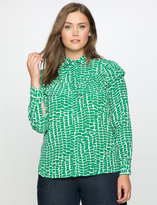 ELOQUII Plus Size Printed Button Front Blouse with Ruffle Detail