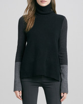 Vince Tri-Color Wool/Cashmere Sweater, Black Combo
