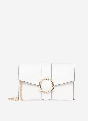 Dorothy Perkins Womens White Crocodile Design Buckle Detail Cross Body Bag, White