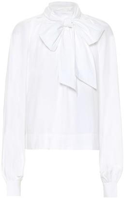 Ganni Cotton pussy bow blouse