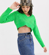 Collusion COLLUSION cable detail crop sweater in green