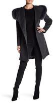 Sofia Cashmere Genuine Fox Fur Trim Hooded Wool Blend Wrap