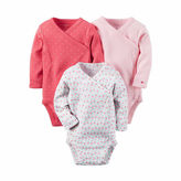 Carter's 3-pk. Long-Sleeve Pink Geo Bodysuits - Baby Girl newborn-24m