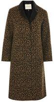 Topshop Buttoned seam leopard print coat