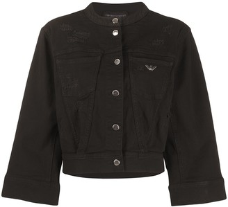 Emporio Armani Distressed 3/4 Sleeve Denim Jacket