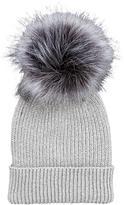Very Lurex Thread Faux Fur Pom Pom Beanie