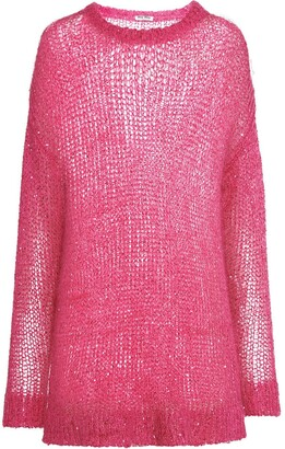 Miu Miu Oversized Sequin-Embellished Crewneck Jumper