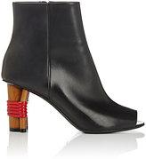Balenciaga Women's Peep-Toe Leather Ankle Boots-BLACK