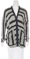 Yigal Azrouel Silk-Trimmed Striped Cardigan