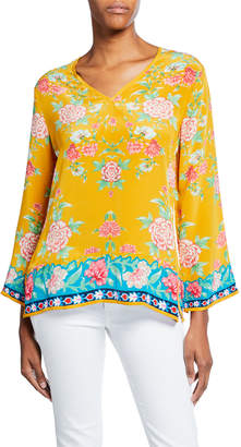 Tolani Simone Saffron-Print V-Neck Long-Sleeve Silk Tunic
