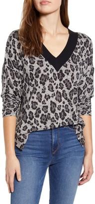 Everleigh Animal Print V-Neck Sweater