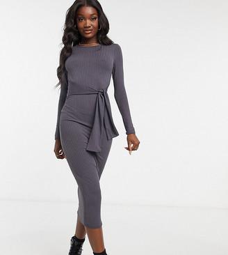 New Look Tall tie waist rib midi dress in dark grey