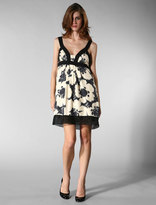 Printed Silk Twill Dress in Black/White Floral