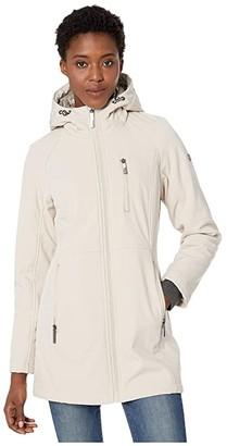 Calvin Klein Softshell Jacket with Packable Bib Insert (Oyster) Women's Coat