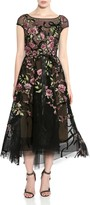 Marchesa Floral & Ribbon Embroidered Tea Length Dress
