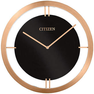 Citizen Gallery Black & Rose Gold-Tone Metal Wall Clock