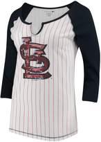 New Era Women's 5th & Ocean by White/Navy St. Louis Cardinals Pinstripe 3/4-Sleeve Notch Neck Raglan T-Shirt