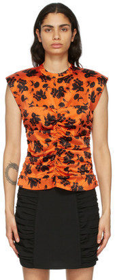 Ganni Orange and Black Silk Stretch Satin Top