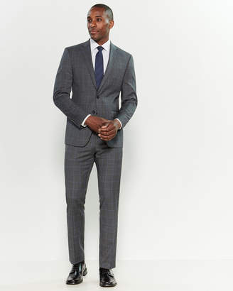 Calvin Klein Two-Piece Grey & Blue Windowpane Stretch Slim Fit Suit