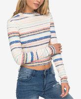 Roxy Juniors' Smooth Move Striped Mock-Neck Crop Top