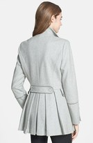 Calvin Klein Pleat Peplum Double Breasted Wool Blend Peacoat