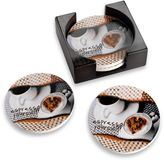 Bed Bath & Beyond Espresso Coasters with Caddy (Set of 4)
